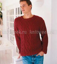 Мужской пуловер, связанный спицами выполнен из пряжи с высоким содержанием хлопка. Рисунок рельефный фантазийный. Описание дано для всех стандартных...