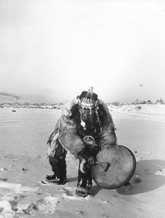 Siberian shaman in the snow