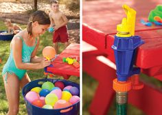 Filling and tying water balloons has never been easier or faster! Kids can fill and tie up to 100 water balloons in just 10 minutes. AquaAntics Water Bomb Factory