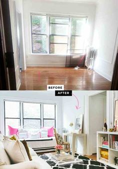 Dream Room Makeover Winners Home Tour Apartment Graphic Rug White Couch Black Gold