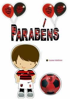 Flamengo Cupcake Toppers, Bolo Mickey, Party, Football Birthday Cake, Soccer Party, Pocoyo, School Supplies, Printables, Football Soccer