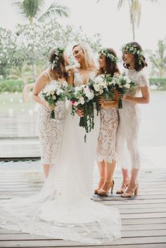 Mismatched White Lace Boho Bridesmaid Dresses - - A couple of weeks ago, we rounded up some gorgeous boho wedding dresses here on SBB. But boho isn't just for brides – oh, noho. Because the only thing better than a stylish gypsy bride …. Lace Bridesmaid Dresses, Wedding Bridesmaids, Casual Bridesmaid, Dresses Dresses, Long Dresses, Evening Dresses, Bridesmaid Inspiration, Wedding Inspiration, Wedding Ideas