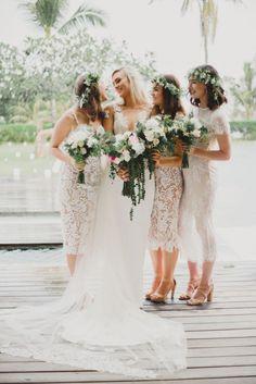 mismatched white lace bridesmaid dresses