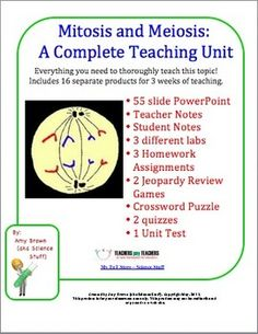 Mitosis and Meiosis Complete Unit Plan - 16 products included.  $