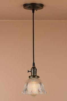 Pendant Lighting w/ Mini Ruffled Glass Shade by BlueMoonLights