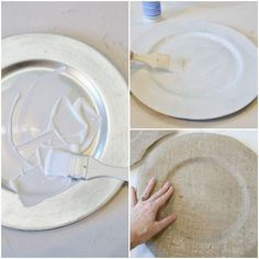 Transform boring plastic plate chargers into beautiful DIY Coastal Burlap Chargers with a beachy vibe. Plus gorgeous coastal tablescape ideas included too! Burlap Projects, Burlap Crafts, Craft Projects, Craft Ideas, Diy Ideas, Decorating Ideas, Party Ideas, Decor Ideas, Wood Chargers