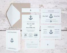DIY Printable Wedding Invitation and Stationery Set Kit Nautical Anchor Yacht Boat Stripes Navy Blue Preppy