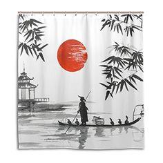 Mont Fuji Bambou Peinture Japon Rideau de douche pour salle de bains Tissu Imperméable