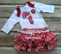 FAST SHIP Candy Cane Ruffle Diaper Cover SET Red Christmas Appliqued Ruffle Bloomer SETs Holiday Bloomers Baby Girls Toddler Infant 5889.