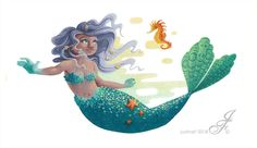 I'm back to show you the last character I did for the workshop, this time it's a mermaid ! Her name is Ingrid and she loves boats. Unfotunately, for cen. Ingrid, the mermaid Love Boat, Illustrator, Cinderella, Disney Characters, Fictional Characters, Mermaid, Deviantart, Disney Princess, Etsy