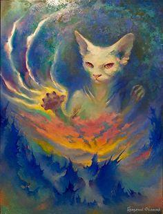 CAT magic painting oil painting