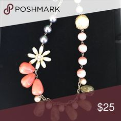 """🌼🌸🌼Anthropologie floral necklace🌼🌸🌼 Orange, olive, pink, peach and black beads with flower.  So adorable statement piece that gets a lot of loving comments. 12"""" Jewelry Necklaces"""