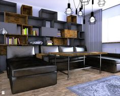 Stolik i meblościanka RAW - meble ROARHIDE - zdjęcie od ROARHIDE Industrial Designs - Salon - Styl Industrialny - ROARHIDE Industrial Designs