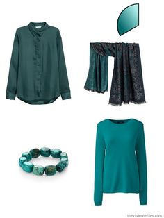 Capsule wardrobe color palette in peach and teal inspired by Art: Proserpine by Dante Gabriel Rossetti