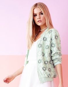 Womens ice mint lace Winter Colors, Beaded Lace, Bomber Jacket, Palette, Mint, Colour, Sweaters, Jackets, Clothes