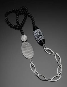 Nancy Megan Corwin: Onyx & Silver Necklace, Necklace in chased and repoussé sterling silver with black onyx beads and glass bead by Bronwen ...