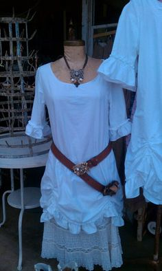 Dress ruched linen victorian romantic shabby chic