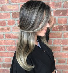 Black Hair With Silver Blonde And Gray Balayage