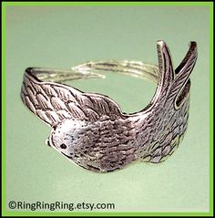 Bird Feather ring - Adjustable Wing ring, Antiqued silver ring jewelry - Gift for girlfriend 091012. $29.00, via Etsy.