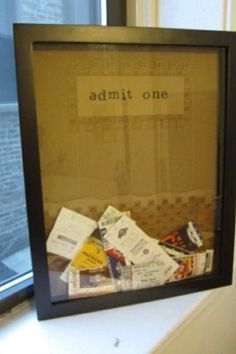 Future home decorations! Aww You put all your movie tickets and fair tickets in this!
