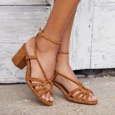 Brown & Gold Refresh your summer shoe game with this Plain Peep Toe Date Travel Sandals Mid Heel Sandals, Chunky Heel Pumps, Strappy Heels, Ankle Strap Sandals, Pumps Heels, Boho Heels, Ankle Straps, Most Comfortable High Heels, Frauen In High Heels