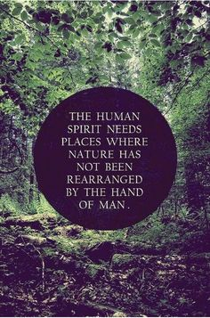 The human spirit needs places where nature has not been rearranged by the hand of man. - Author Unknown