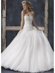 White Ball Gown Strapless Floor Length Satin Wedding Gown