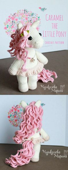 This little pony is adorable! PATTERN Caramel the little pony PDF crochet toy pattern. #crochetpony #crochethorse #crochetponypattern #ad
