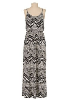 Mixed chevron print maxi dress (original price, $39) available at #Maurices