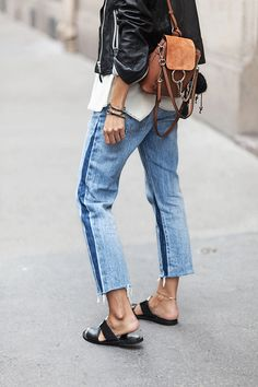 Two-tone jeans.