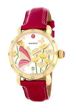 Women's Garden Party Stainless Steel & 18K Gold Watch by Michele on @HauteLook