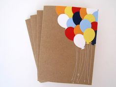 Items similar to Birthday Cards, Balloons Stationery, Set of 4 on Etsy post_tags] Handmade Birthday Cards, Happy Birthday Cards, Handmade Invitations Birthday, Handmade Invitation Cards, Wedding Card Design, Wedding Cards, Cumpleaños Diy, Easy Diy, Tarjetas Diy