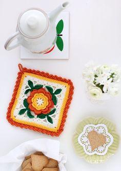 cafenoHut: Tutaçların En Güzeli - The Most Beautiful Potholder #crochet #potholder #flower