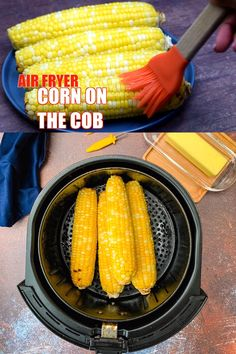 Quick and Easy Air Fryer Corn on the Cob will pair wonderfully with BBQ side dishes or as a vegetable complement to any dinner meal. You can use fresh or frozen corn. You will need foil for boiled corn and no foil for grilled corn. The garlic butter glaze Air Fryer Recipes Vegetables, Air Fryer Oven Recipes, Air Fryer Dinner Recipes, Vegetable Recipes, Recipes For Airfryer, Air Fryer Recipes Videos, Actifry Recipes, Juicer Recipes, Blender Recipes