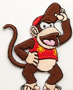DIDDY KONG - Fully Embroidered Iron on Patch  Patch measures: 2.5 x 3 Inches (Approx)  THIS IS A PREMIUM QUALITY PATCH!  Iron-on backing fuses onto any