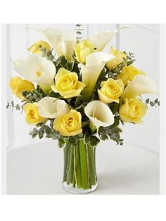 Search for spread the sunshine bouquet - centerpieces yellow roses and calla lilies…. we can make it with red and yellow roses and a diffe - Yellow Flower Arrangements, Flower Vases, Flower Pots, Yellow Wedding Flowers, Yellow Flowers, Coral Roses, Calla Lillies, Calla Lily, Red And Yellow Roses