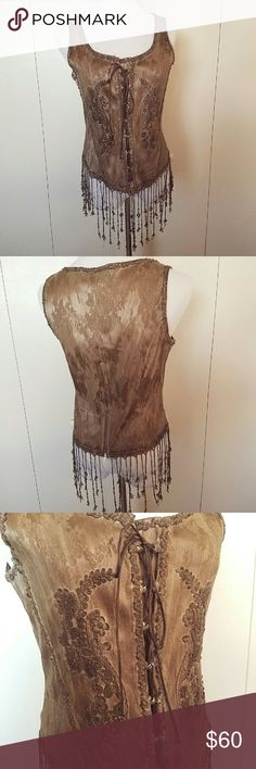 """Pat Dahnke corset style top Romantic cowgirl chic designer Pat Dahnke created this piece.  Lace up front, zip in back, stays throughout to hold the shape. Beautiful brocade fabric with lace details and beading at the hem.  Chest measures 18.5"""" across laying flat. Pat Dahnke Tops"""