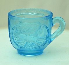 2 Inch Sapphire Blue Toy Mug with Dog on the Front by hensnest10, $40.00