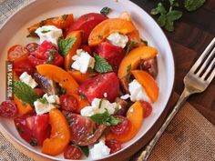 Tomato, apricot, and feta salad with mint.