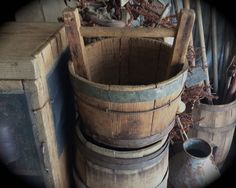 Primitive old wood well bucket. Antique farm find at Sweet Liberty Homestead
