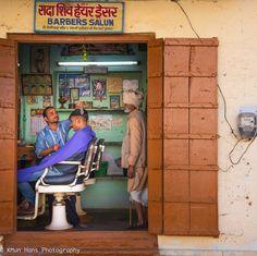 "ph. © Khun Hans "" Indian Barber shop. Jaipur, Rajasthan, India."""
