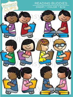 The Reading Buddies clip art includes kids reading together and separately. This set contains 16 image files, which includes 8 color illustrations and 8 black & white illustrations. All images are 300dpi for better scaling and printing.