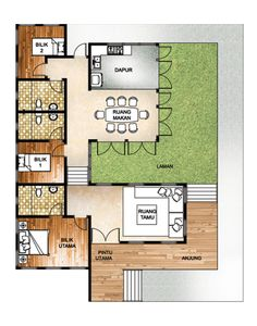 3 Bilik Tidur Floor Plan Pinterest House Plans And Flooring