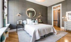 uma thurman gray bedroom with white bedding