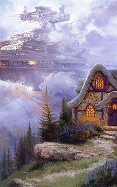 """Some genius named Jeff Bennett has unleashed """"Wars on Kinkade"""". In his series of paintings, Star Wars Imperial Forces Invade Thomas Kinkade's Precious Paintings. Kinkade Paintings, Thomas Kincaid, Art Thomas, Science Fiction Art, Fantasy Illustration, Star Wars Art, Banksy, Far Away, Disney Art"""