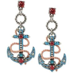 Anchor yourself to fabulous Betsey Johnson style with these ultra-cool blue enamel pave anchor drop earrings skilfully designed of silver-tone mixed metal. Anchor Earrings, Drop Earrings, Jewellery Earrings, Betsey Johnson Earrings, Enamel Jewelry, Designer Earrings, Jewelry Collection, Jewelery, Jewelry Watches