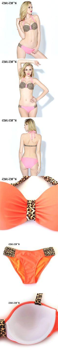 Sexy Leopard Bikini Women 2016 Summer Style Push Up Modest Swimwear S-XXL Strappy Halter Swimsuit For Girls And Women AL132 $22.36