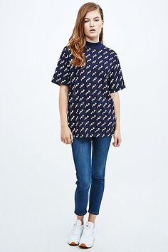 Fila All-Over Print Tee in Navy - Urban Outfitters #shirt #offduty #covet.me
