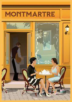 Affiche Montmartre - DOZ affiches vintage - Book Illustration Posters for Sale: Prints, Paintings & Wall Art . Kunst Poster, Poster S, Poster Prints, Poster Layout, Poster Wall, Art Deco Illustration, Coffee Poster, Art Deco Posters, Arte Pop