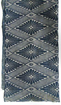 Antique Japanese Indigo Cotton / Katazome . Meiji / Taisho Folk Textile